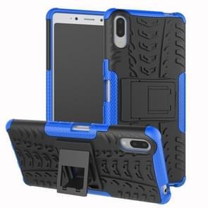 Tire Texture TPU + PC schokbestendig Case voor Sony Xperia L3  met houder (blauw)