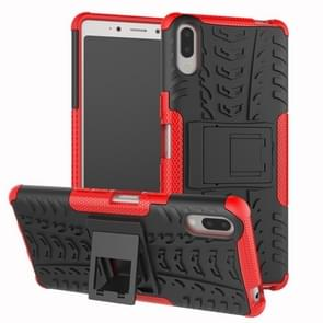 Tire Texture TPU+PC Shockproof Case for Sony Xperia L3, with Holder (Red)
