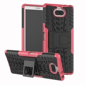 Tire Texture TPU + PC schokbestendig Case voor Sony Xperia XA3  met houder (roze)