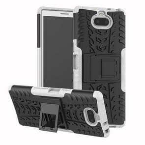 Tire Texture TPU + PC schokbestendig Case voor Sony Xperia XA3  met houder (wit)
