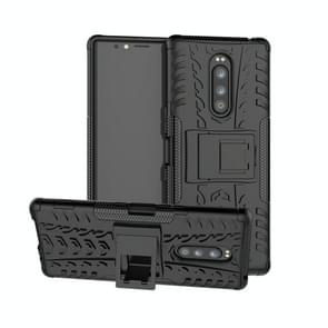 Tire Texture TPU+PC Shockproof Case for Sony Xperia 1 / Xperia XZ4, with Holder(Black)