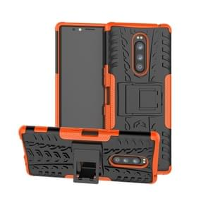 Tire Texture TPU+PC Shockproof Case for Sony Xperia 1 / Xperia XZ4, with Holder(Orange)