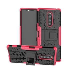 Tire Texture TPU+PC Shockproof Case for Sony Xperia 1 / Xperia XZ4, with Holder(Pink)