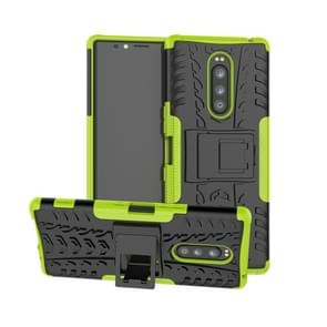 Tire Texture TPU+PC Shockproof Case for Sony Xperia 1 / Xperia XZ4, with Holder(Green)