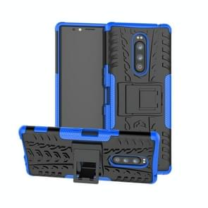 Tire Texture TPU+PC Shockproof Case for Sony Xperia 1 / Xperia XZ4, with Holder(Blue)