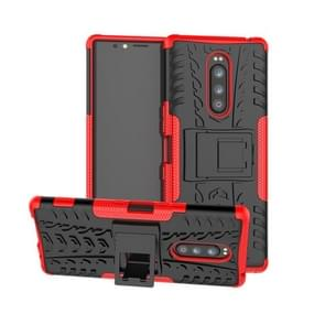 Tire Texture TPU+PC Shockproof Case for Sony Xperia 1 / Xperia XZ4, with Holder(Red)