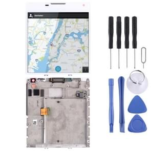 LCD-scherm en digitizer volledige montage met frame voor BlackBerry Passport Q30 (wit)
