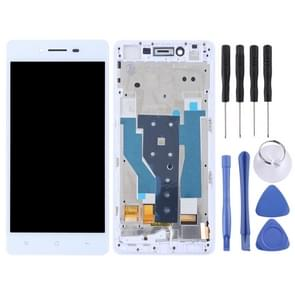 TFT Materials LCD Screen and Digitizer Full Assembly with Frame for OPPO R7(White)