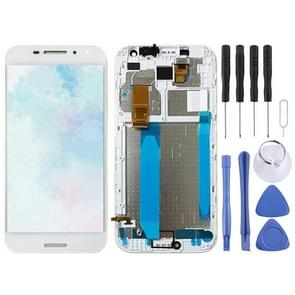 LCD Screen and Digitizer Full Assembly with Frame for Vodafone Smart N8 VFD610(White)