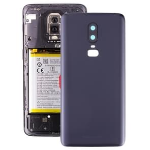 Frosted Battery back cover met camera lens voor OnePlus 6 (zwart)
