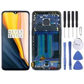 AMOLED-materiaal LCD-scherm en digitizer volledige montage met frame voor OnePlus 7 (blauw)