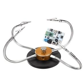 Universal Metal Base Soldering Station PCB Fixture (4 Metal Arms + Round Iron Base + Aluminum Base) (Gold)