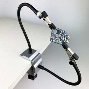 Aluminum Table Clamp Soldering Iron Holder Soldering Station PCB Fixture with 2 Metal Arms