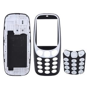 Volledige assemblage behuizing cover met toetsenbord voor Nokia 3310 (zwart)