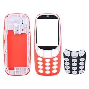 Volledige assemblage behuizing cover met toetsenbord voor Nokia 3310 (rood)