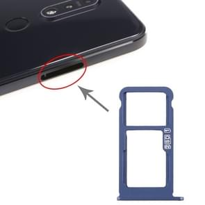 SIM-kaart lade + SIM-kaart lade / Micro SD-kaart lade voor Nokia 7.1 / TA-1100 TA-1096 TA-1095 TA-1085 TA-1097 (Blauw)