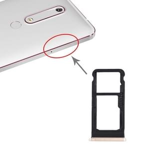 SIM-kaartlade + SIM-kaartlade / Micro SD-kaartlade voor Nokia 6.1 / 6 (2018) / TA-1043 TA-1045 TA-1050 TA-1054 TA-1068 (Goud)