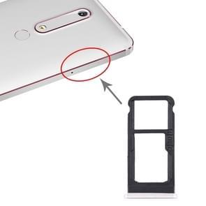SIM-kaartlade + SIM-kaartlade / Micro SD-kaartlade voor Nokia 6.1 / 6 (2018) / TA-1043 TA-1045 TA-1050 TA-1054 TA-1068 (Wit)