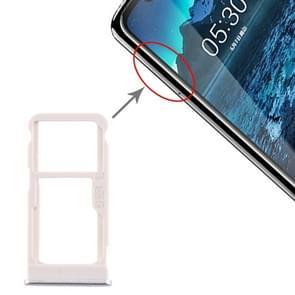 SIM-kaartlade + SIM-kaartlade / Micro SD-kaartlade voor Nokia 5.1 Plus / X5 TA-1102 TA-1105 TA-1108 TA-1109 TA-1112 TA-1120 TA-1199(Zilver)