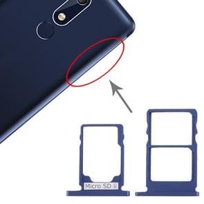 SIM-kaartlade + SIM-kaartlade + Micro SD-kaartlade voor Nokia 5.1 TA-1075 (Blauw)