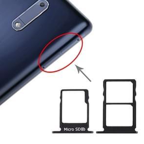 SIM-kaart lade + SIM-kaart lade + micro SD-kaart lade voor Nokia 5/N5 TA-1024 TA-1027 TA-1044 TA-1053 (zwart)
