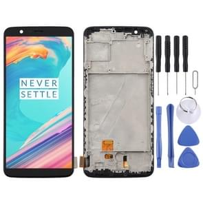 TFT Material LCD Screen and Digitizer Full Assembly with Frame for OnePlus 5T A5010 (Black)