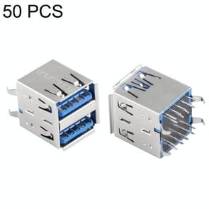 50 PCS 180 Degrees USB 3.0 AF Receptacle Connector in Double Dip Type