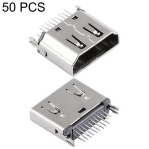 50 PCS 180 Degrees 19 Pin Type A Female Clip Board Type Nickel HDMI Connector