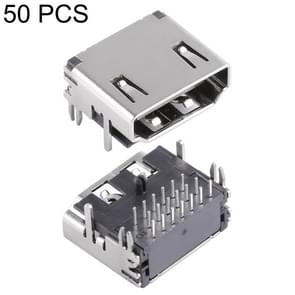 50 PCS 90 Degrees 19 Pin HDMI SMD Female PCB Mounted Socket Connector