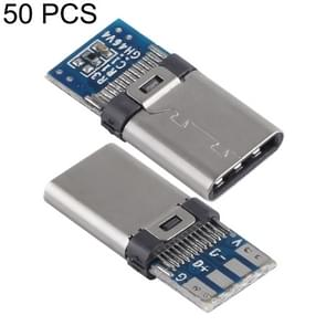 50 PCS USB-C / Type-C Male Welding Host Connector with Blue PCB Board