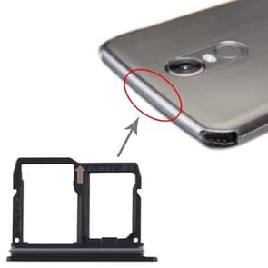 Nano SIM Card Tray + Micro SD Card Tray voor LG Stylo 4 / Q Stylus Q710 / LM-Q710CS / LM-Q710MS / LM-Q710ULS / LM-Q710ULM / LM-Q710TS / LM-Q710WA (Zwart)