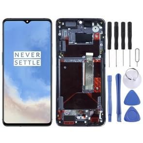 AMOLED-materiaal LCD-scherm en Digitizer Full Assembly met frame voor OnePlus 7T HD1901 HD1903 HD1900 HD1905(Baby Blue)