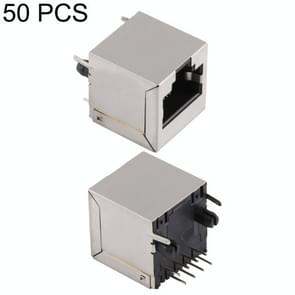 50 PCS RJ45 180 Degrees Straight Plug Full-pack Connector without Light, H Type