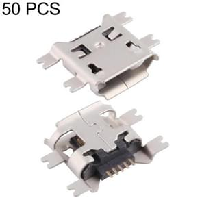 50 PCS Micro USB 5P/F Heavy Plate Fixed Foot 1.17 with Crimping, H Type