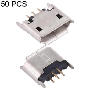 50 PCS Micro USB 5P/F 180 Degrees Connector with Crimping, Electroplated and Coated with Tin Film