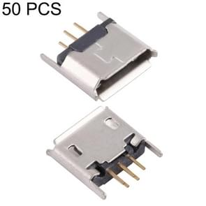 50 PCS Micro USB 5P/F 180 Degrees Lengthened Needle Connector with Crimping, Electroplated and Coated with Tin Film