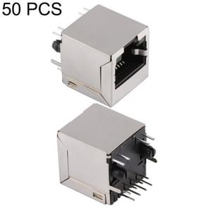 50 PCS RJ45 180 Degrees Straight Plug Full-pack Connector with Light, H Type