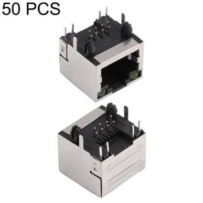 50 PCS RJ45 Shell Housing 15mm Connector with LED Light, No Shrapnel, H Type