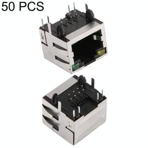 50 PCS RJ45 Shell Housing 15mm Connector with LED Light & Shrapnel, H Type