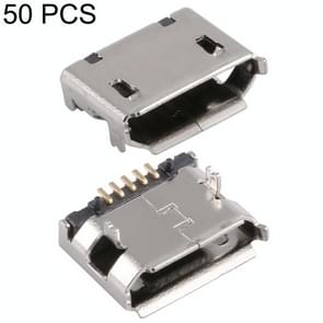 50 PCS Micro USB 5P/F Fixation Pin 5.9 Belt, Electroplated and Coated with Tin Film, H Type