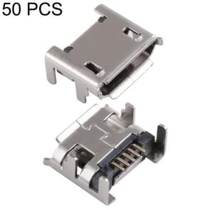 50 PCS Micro USB 5P/F Fixed Foot 7.2 Short Needle with Crimping, D Type