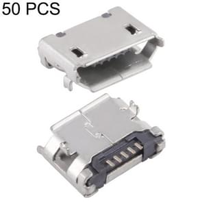 50 PCS Micro USB 5P/F Fixed Foot 6.4 without Positioning Column, with Flanging and Fogged Tin Coil, J Type