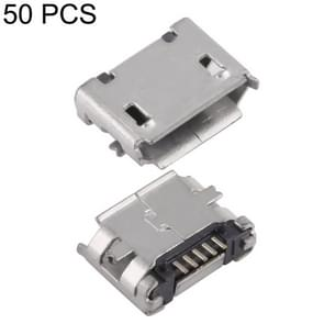 50 PCS Micro USB 5P/F Fixed Foot 5.9 with Positioning Column & Crimping, J Type
