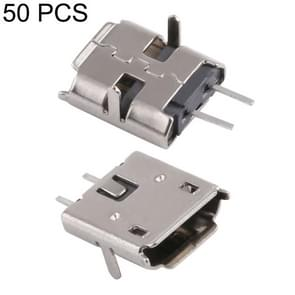 50 PCS Micro USB 2P/F Fixed Pin Needle Foot Patch Shell Plating Nickel, H Type