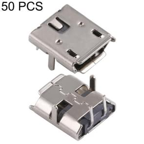 50 PCS Micro USB 2P/F 90 Degrees Socket Connector, H Type