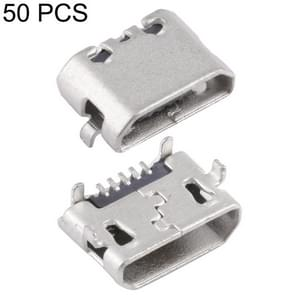 50 PCS Micro USB 5P/F Connector Fixed Foot for Opposite without Crimping