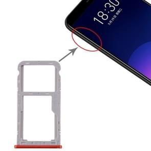 SIM-kaartlade + SIM / Micro SD-kaartlade voor Meizu M6T (rood)