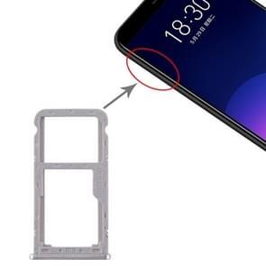 SIM-kaartlade + SIM / Micro SD-kaartlade voor Meizu M6T (Zilver)
