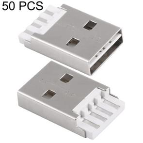 50 PCS USB 2.0 AM Short Body Plastic Core White Shell Iron Welding Line Socket Connector, H Type