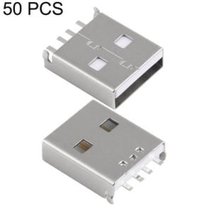 50 PCS USB 2.0 AM Connector Short Solder Wire Double Sides Insert, White Rubber Core Shell, H Type